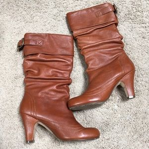 Steve Madden Legion Leather Boots Heels Buckles 7